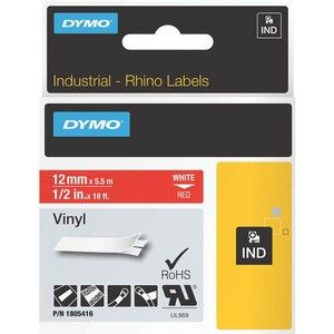 Dymo White on Red Color Coded Label - Permanent Adhesive - 15/32
