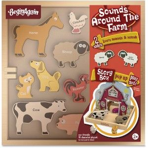 BeginAgain Toys Sounds Around the Farm Story Box - Theme/Subject: Animal,  Learning, Fun - Skill Learning: Farm, Name, Sound - 8 Pieces