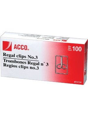 ACCO® Regal Clips (Owl Clips), Smooth Finish, #3 Size, 100/Box - No. 3 - Durable - 100 / Box - Silver - Metal
