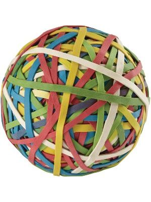 ACCO® Rubber Band Ball, 275 Bands Per Ball, Assorted Colors, 1/Box - 0.75