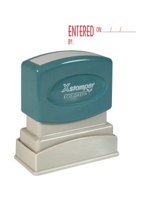 Xstamper Red Ink ENTERED Title Stamp - Message Stamp -