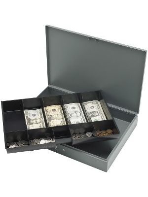 Sparco All-Steel Locking Cash Box with Tray - 5 Bill - 5 Coin - Steel - Gray - 2