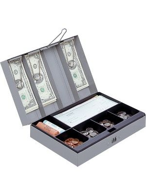 Sparco Steel Combination Lock Steel Cash Box - 6 Coin - Steel - Gray - 3.2