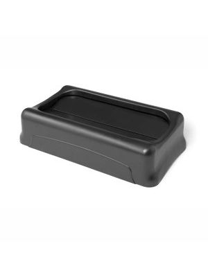 Rubbermaid Commercial Slim Jim Container Swing Lid - Rectangular - 1 Each - Black
