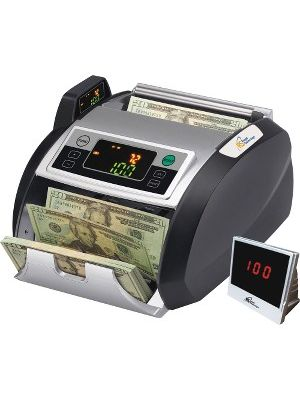 Royal Sovereign Back loading bill counter with counterfeit detection, 1000 bills/min and auto start/stop, batching 1 -999 bills, auto self test, secondary display - 200 Bill Capacity - Counts 1000 bills/min - Blue, Gray