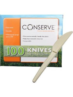 Conserve Disposable Knife - 100/Box - Disposable - White