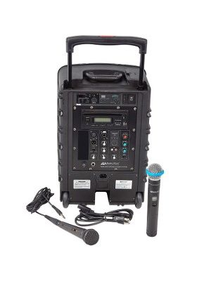 AmpliVox SW800: Titan Wireless Portable PA System - 100 W Amplifier - Cable, Wireless Microphone - Built-in Amplifier - Bluetooth - 2 Audio Line In - USB Port - Battery Rechargeable - 10 Hour