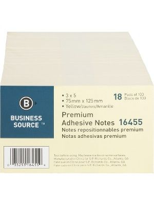 Business Source Repositionable Notes - 3
