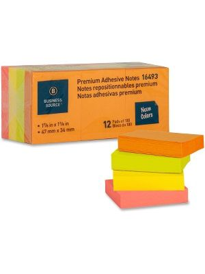 Business Source Premium Repostionable Adhesive Notes - 1.50