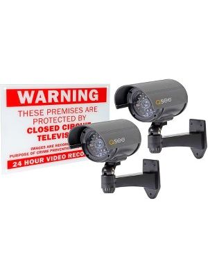 Q-See - QSSIGD2 - 2-PACK NON-OPERATIONAL DECOY BULLET SECURITY CAMERAS - Flash LED - Weather Proof - For Outdoor