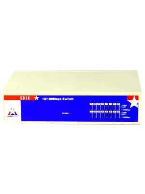 Amer SD16 Ethernet Switch - 16 x Fast Ethernet Network - 2 Layer Supported - Lifetime Limited Warranty