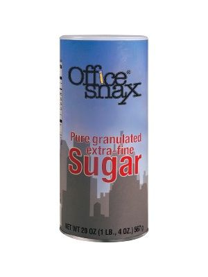 Office Snax Granulated Sugar Canister - Canister - 1.2 lb (20 oz) - Granulated Sugar - 24/Carton