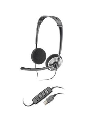 Plantronics Audio 478 Corded Headset - Stereo - Black, Chrome - USB - Wired - Over-the-head - Binaural - Semi-open - Noise Cancelling Microphone