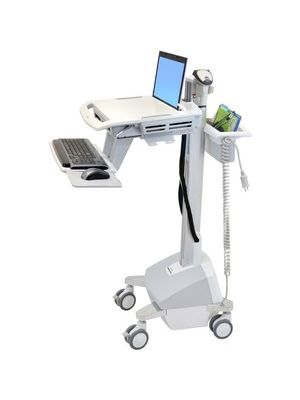 Ergotron StyleView EMR Laptop Cart, LiFe Powered - 20 lb Capacity - 4 Casters - Aluminum, Plastic, Zinc Plated Steel - 18.3