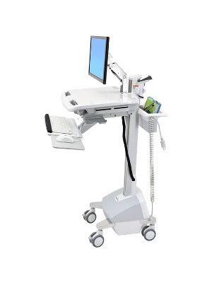 Ergotron StyleView EMR Cart with LCD Arm, LiFe Powered - 31 lb Capacity - 4 Casters - Aluminum, Plastic, Zinc Plated Steel - 18.3