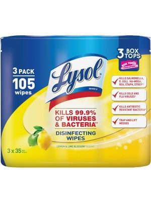 Lysol Disinfecting Wipes 3-pack - Wipe - Lemon Scent - 35 / Canister - 105 / Pack - White
