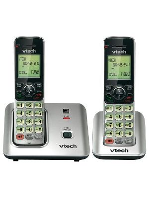 VTech CS6619-2 DECT 6.0 Expandable Cordless Phone with Caller ID/Call Waiting, Silver with 2 Handsets - Cordless - 1 x Phone Line - 2 x Handset - Speakerphone - Hearing Aid Compatible - Backlight
