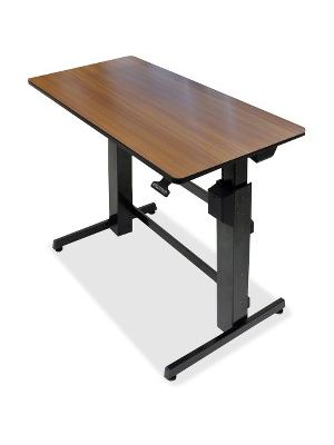 Ergotron WorkFit-D, Sit-Stand Desk (Walnut Surface) - Rectangle Top - 47.60