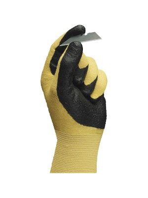 Ansell Health HyFlex Nitrile Gloves - 9 Size Number - Nitrile - Yellow - Abrasion Resistant, Knit Wrist, Latex-free - 2 / Pair