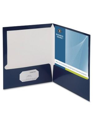 Business Source 2-Pocket Report Covers with Bus Card Holder - Letter - 8 1/2