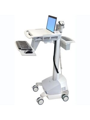 Ergotron StyleView EMR Cart with LCD Arm, SLA Powered - 35 lb Capacity - 4 Casters - Plastic, Aluminum, Zinc Plated Steel - x 50.5