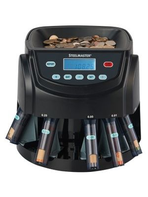 Steelmaster C200 Coin Sorter All-in-one - 2000 Coin Capacity - Counts 300 coins/min - Black
