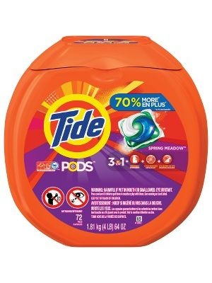 Tide Pods Laundry Detergent - Spring Meadow Scent - 72 / Pack - Blue