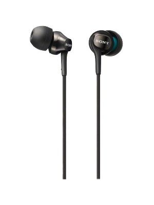Sony EX Monitor Headphones (Black) - Stereo - Black - Mini-phone - Wired - 16 Ohm - 8 Hz - 22 kHz - Gold Plated - Earbud - Binaural - In-ear - 3.94 ft Cable