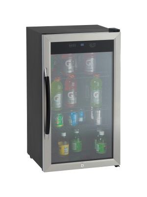 Avanti BCA306SSIS 3.1CF Beverage Cooler - 3 ft³ - Auto-defrost - Reversible - 3 ft³ Net Refrigerator Capacity - Black, Stainless Steel, Silver - LED Light