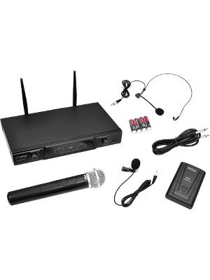 PylePro PDWM2115 Wireless Microphone System - 170 MHz to 260 MHz Operating Frequency - 50 Hz to 15 kHz Frequency Response - 164.04 ft Operating Range