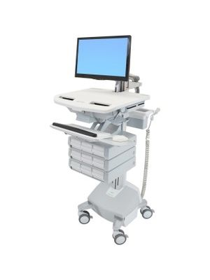 Ergotron StyleView Cart with LCD Arm, LiFe Powered, 9 Drawers (3x3) - 9 Drawer - 33 lb Capacity - 4 Casters - Aluminum, Plastic, Zinc Plated Steel - White, Gray, Polished Aluminum