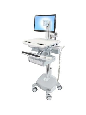 Ergotron StyleView Cart with LCD Pivot, LiFe Powered, 1 Drawer - 1 Drawer - 33 lb Capacity - 4 Casters - Aluminum, Plastic, Zinc Plated Steel - White, Gray, Polished Aluminum