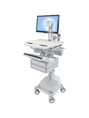 Ergotron StyleView Cart with LCD Pivot, SLA Powered, 2 Drawers - 2 Drawer - 39 lb Capacity - 4 Casters - Aluminum, Plastic, Zinc Plated Steel - White, Gray, Polished Aluminum
