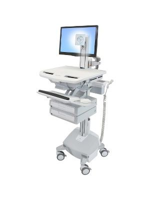 Ergotron StyleView Cart with LCD Pivot, LiFe Powered, 2 Drawers - 2 Drawer - 35 lb Capacity - 4 Casters - Aluminum, Plastic, Zinc Plated Steel - White, Gray, Polished Aluminum