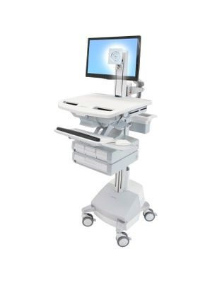 Ergotron StyleView Cart with LCD Pivot, SLA Powered, 4 Drawers - 4 Drawer - 38 lb Capacity - 4 Casters - Aluminum, Plastic, Zinc Plated Steel - White, Gray, Polished Aluminum