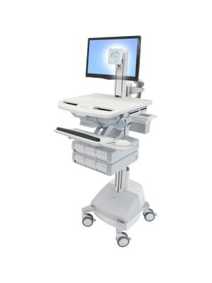 Ergotron StyleView Cart with LCD Pivot, SLA Powered, 6 Drawers - 6 Drawer - 37 lb Capacity - 4 Casters - Aluminum, Plastic, Zinc Plated Steel - White, Gray, Polished Aluminum