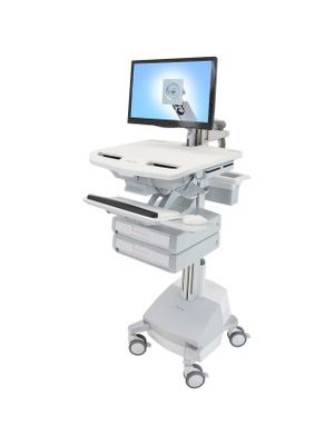 Ergotron StyleView Cart with LCD Arm, SLA Powered, 2 Drawers - 2 Drawer - 39 lb Capacity - 4 Casters - Aluminum, Plastic, Zinc Plated Steel - White, Gray, Polished Aluminum