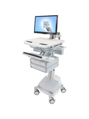 Ergotron StyleView Cart with LCD Arm, SLA Powered, 4 Drawers - 4 Drawer - 38 lb Capacity - 4 Casters - Aluminum, Plastic, Zinc Plated Steel - White, Gray, Polished Aluminum