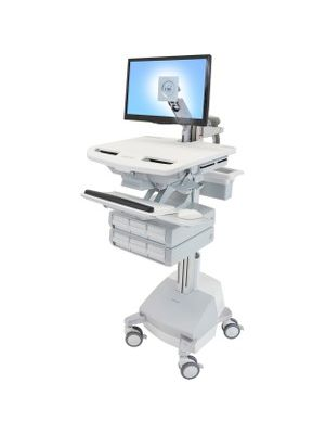 Ergotron StyleView Cart with LCD Arm, SLA Powered, 6 Drawers - 6 Drawer - 37 lb Capacity - 4 Casters - Aluminum, Plastic, Zinc Plated Steel - White, Gray, Polished Aluminum