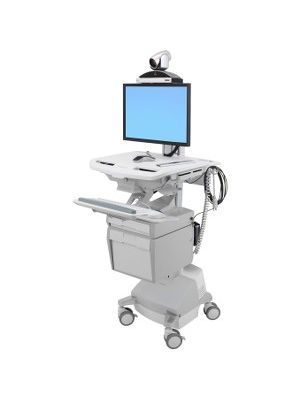 Ergotron StyleView Telepresence Cart, Single Monitor, Powered - 39 lb Capacity - 4 Casters - Aluminum, Plastic, Zinc Plated Steel - White, Gray, Polished Aluminum