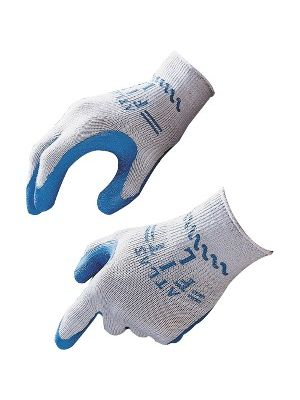 Showa Best Best Manuf. Co Atlas Fit General Purpose Gloves - Large Size - Rubber, Cotton Liner, Polyester Liner - Blue, Gray - Lightweight, Elastic Wrist - 24 / Box
