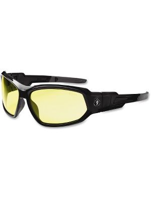 Ergodyne Loki Yellow Lens Safety Glasses - Durable, Flexible, Scratch Resistant, Anti-fog, Non-slip, Perspiration Resistant, Comfortable, Elastic Strap - Ultraviolet Protection - Polycarbonate Lens, Nylon Frame, Polycarbonate Temple, Foam Gasket - Black