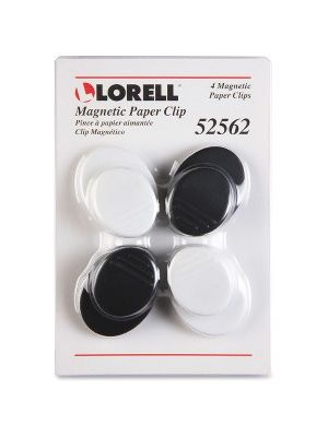 Lorell Plastic Cap Magnetic Paper Clips - Round - 1 Pack - Black, White