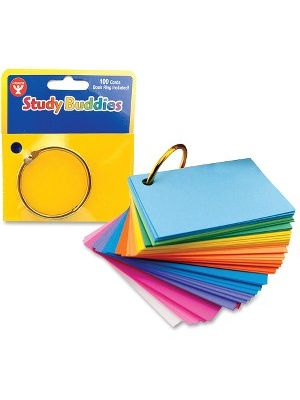 Hygloss Bright Study Buddies Flash Cards - 100 Sheets - Ring - 2