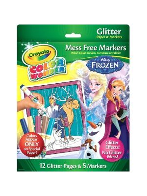 Crayola Color Wonder Glitter Paper and Markers, Disney Frozen - Glitter Paper and Markers - Features Disney Frozen Line Art - 12 Pages of Magical Color Wonder Glitter Paper - Five Broad Line Color Wonder Markers Included