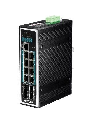 TRENDnet 12-Port Hardened Industrial Gigabit PoE+ Layer 2+ Managed DIN-Rail Switch - 8 Network, 4 Expansion Slot - Manageable - Optical Fiber, Twisted Pair - Modular - 3 Layer Supported - Rail-mountable - Lifetime Limited Warranty