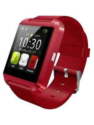 MYEPADS Bluetooth Smart Watch - Wrist - Pedometer, Barometer - Stopwatch, Alarm, Text Messaging - Distance Traveled - Bluetooth - 6 Hour - Red - Music, Communication, Smartphone