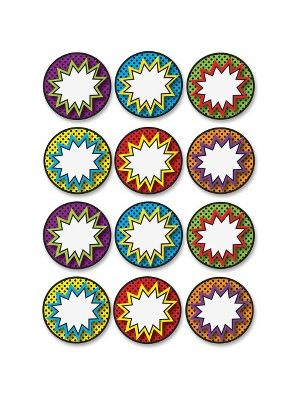 Ashley Dry Erase Superhero Die-cut Magnets - Superhero Theme/Subject - 12 (Superhero Pops) Shape - Magnetic - Vibrant Pattern - Die-cut, Write on/Wipe off, Heavy Duty, Damage Resistant, Long Lasting - Multicolor - 1 Set