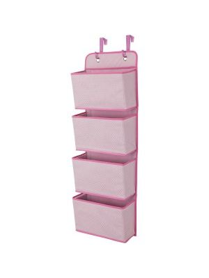 Delta Children 4-Pocket Organizer, Barley Pink - Storage - Organization - Easily Hangs Over Any Door or On the Wall