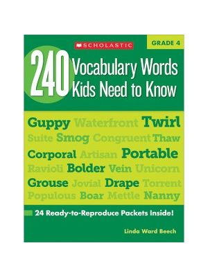 Scholastic Res. Grade 4 Vocabulary 240 Words Book Education Printed Book by Linda Ward Beech - English - Book - 80 Pages